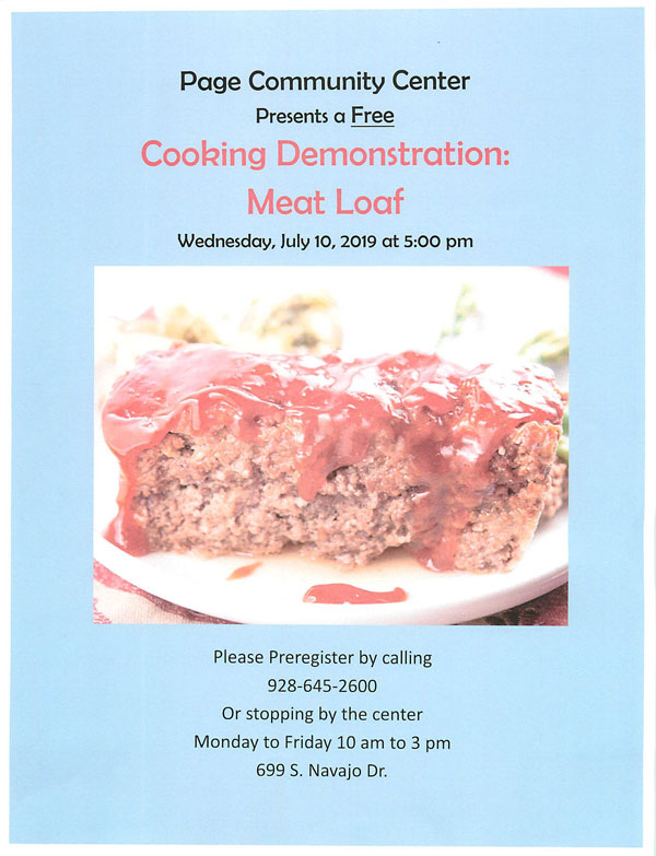 FREE Cooking Demo meat loaf poster
