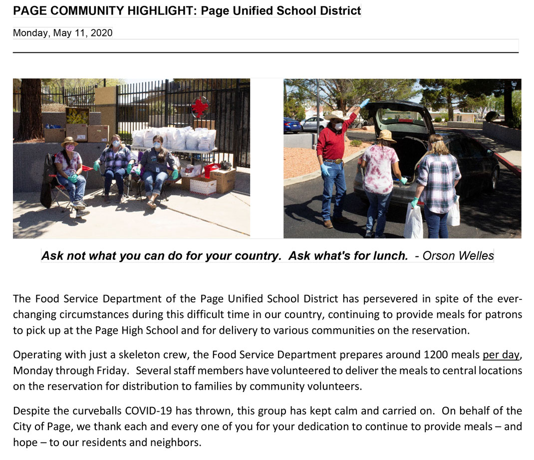 2020 05 11 COMMUNITY HIGHLIGHT PUSD Food Service Deptjpg