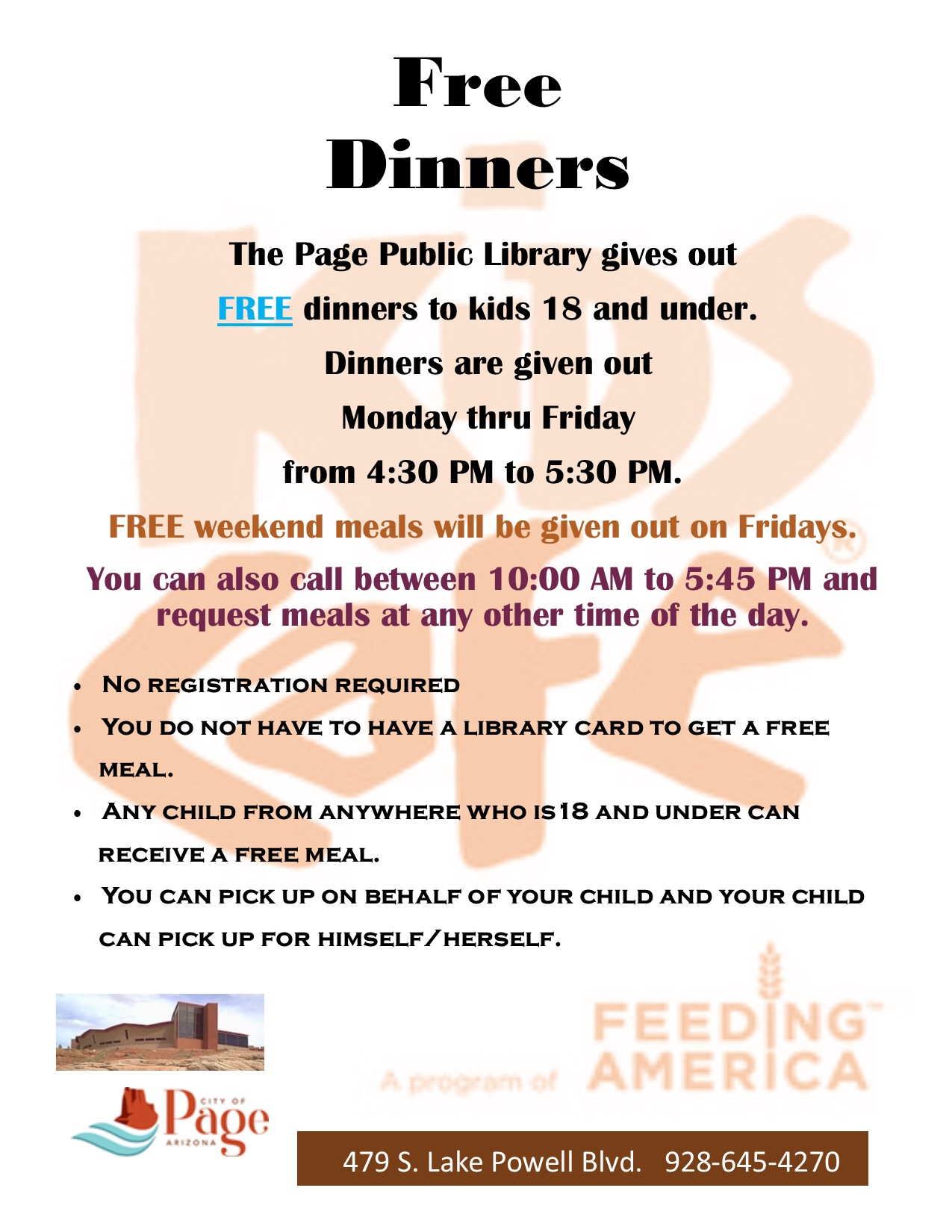 FREE Dinners Poster