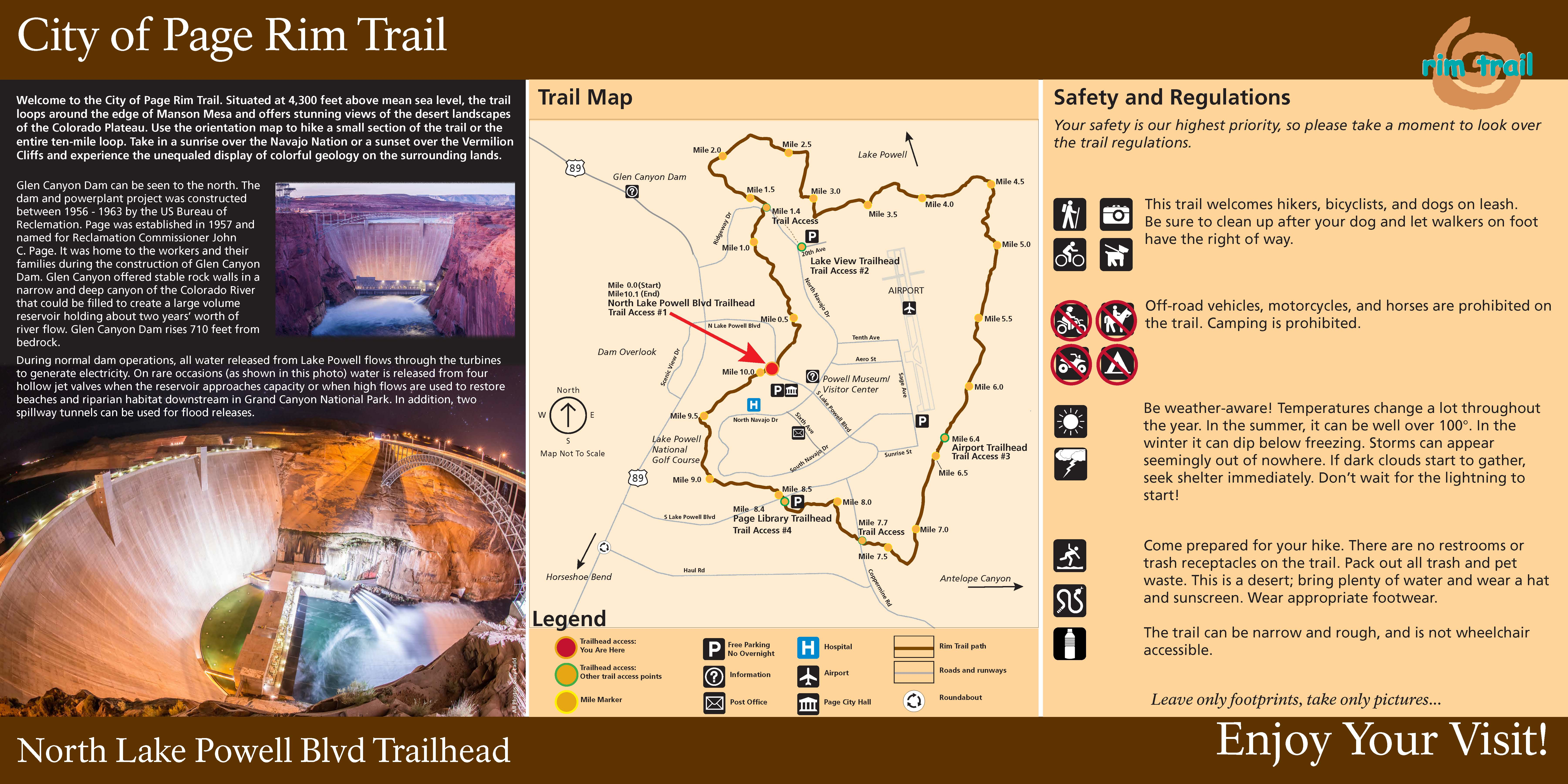 Recreation department city of page north lake powell blvd trailhead map gumiabroncs Gallery